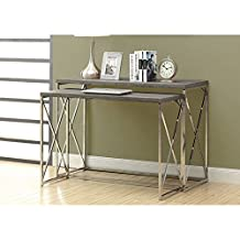 Monarch Specialties Reclaimed-Look/Chrome 2-Piece Console Tables, Dark Taupe