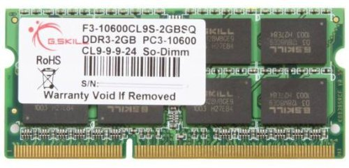 G.SKILL 2GB DDR3 1333 MHz PC3-10600 204-Pin Laptop Memory Model F3-10600CL9S-2GBSQ by G.SKILL