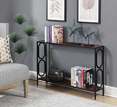Convenience Concepts Omega Metal Console Table, Cherry / Black ()