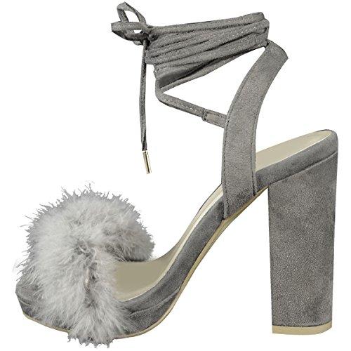 Mode Törstiga Kvinnor Fluffig Fuskpäls Hög Klack Part Sandaler Strappy Skor Storleks Grå Faux Mocka