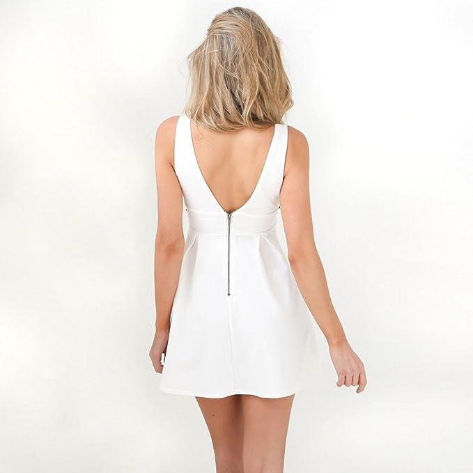 ❤️Xinantime Vestido sin mangas con cuello en V para mujer Vestido floral bordado Vestido corto fiesta de noche: Amazon.es: Ropa y accesorios