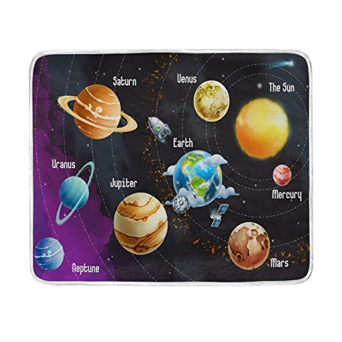 ALAZA Solar System Planets Plush Throws Siesta Camping Travel Fleece Blankets Lightweight Bed SOFE Size 50x60inches by ALAZA