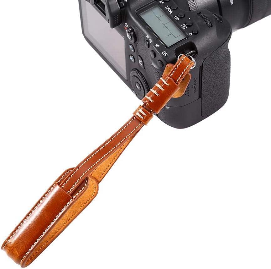 Oba Fuji brazaletes de c/ámara port/átiles de Cuero Durable de PU Durable para Sony caf/é Nikon Panasonic Leica Topiky Micro Sola c/ámara DSLR Correa de Mano Correa de Mano