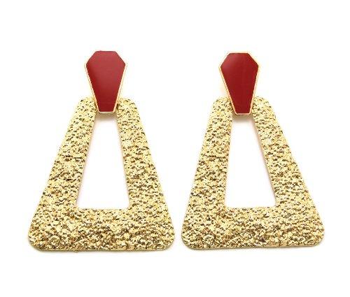 Textured Trapezoid Doorknocker Fashion Drop Earrings, (Door Knocker Pierced Earrings)