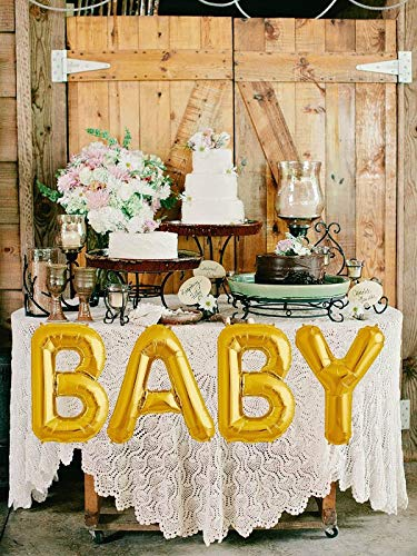 """Birthday Parties Ideal For Baby Showers Letters BABY Premium Quality Jumbo 40/"""" Baby Shiny Gold Balloon Bouquet -Mylar Alphabet Letters Banner Balloons House Decoration Looba Balloons"""