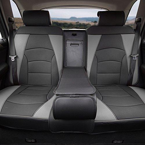 YBLACK Bench PU205GRAYBLACK013 Ultra Comfort Leatherette Rear Seat Cushions Gray Black ()