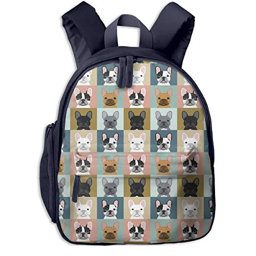 French Bulldog Frenchie Bulldog Portraits Dogs Children's/Kids School/Nursery/Picnic/Carry/Travelling Bag Backpack Daypack Bookbags Navy