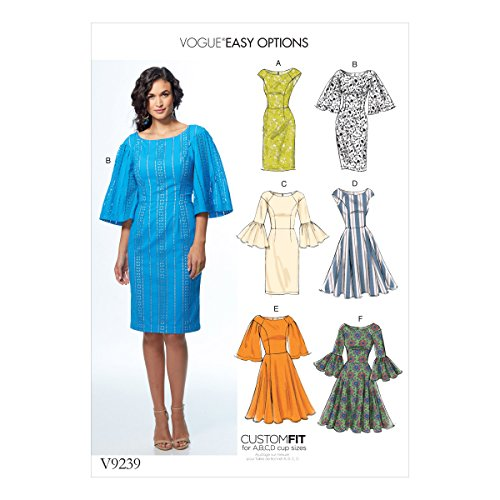 Vogue V9239 14-22 Sewing Pattern Ladies Vintage 1960s Flare Sleeve Dress 6 Styles 60s Sewing Patterns