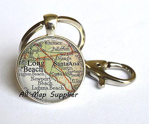 Charming Keychain,Long Beach map Keychain, Long Beach Keychain, Long Beach map Key Ring, Santa Ana Key Ring, Long Beach Key - Santa Fashion Island