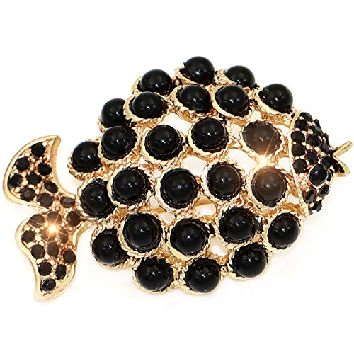 (Chamqueen Faux Pearl Fish Brooch Woman Fish Shape Pearl Inlaid Pins Clothes Decor)