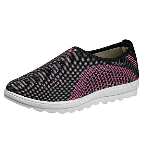 Rmeioel Women's Mesh Flat with Cotton Casual Comfy Walking Stripe Breathable Slip-on Sneakers Loafers Soft Shoes