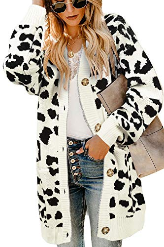 - Ferbia Women Leopard Cardigan Long Open Front Sweaters Oversized Loose Knit Coat Draped Jackets with Pockets