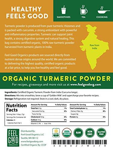 Organic Turmeric Root Powder - 16oz Resealable Bag (1lb) - 100% Raw w/Curcumin From India - by Feel Good Organics by Feel Good Organics (Image #2)