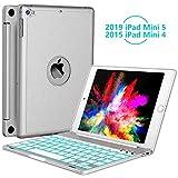 iPad Mini 5 / Mini 4 Keyboard - 135 Degree Flip - 7 Color Backlit - Auto Sleep/Wake - Smart Wireless Keyboard with Aluminum Hard Shell Cover for iPad Mini 5th Gen 2019 / iPad Mini 4 2015, Silver