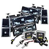 97 chevy hid headlight kit - Chevy C/K-Series Facelifted 8-PC Smoke Headlight+Bumper+Corner Light+12000K HID+Thick Ballasts