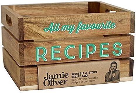Jamie Oliver Scribble and Store - Caja de Recetas (Madera de Acacia): Amazon.es: Hogar