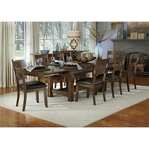 A-America Mariposa 9 Piece Extendable Dining Set in Rustic Whiskey