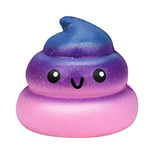 Gloous Stress Relief Toy, Exquisite Fun Galaxy Poo Scented Squishy Charm Slow Rising Stress Reliever Toy (A)
