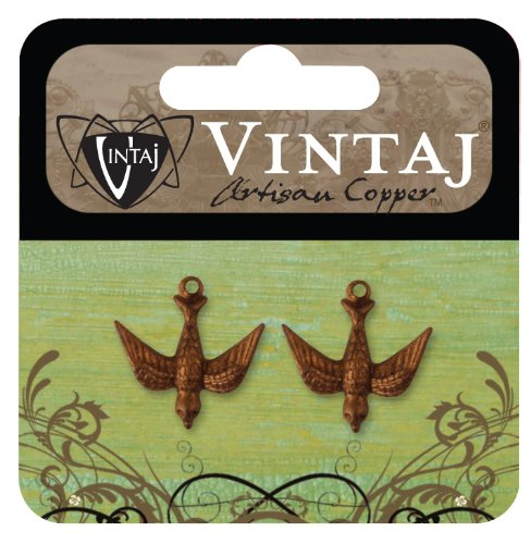 (Vintaj 2-Piece Watchful Bird Decorative Pendant, 17 by 16.5mm)
