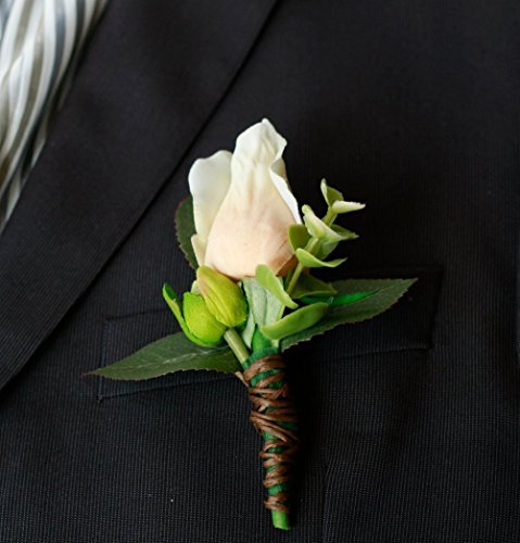 Silk Boutonniere - Silk Champagne Rose Boutonniere