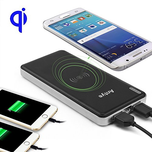 Wireless Charger Power Bank, Antye Qi Wireless Charging Pad Station and 10000mAh External Battery Pack for iPhone 8/8 Plus, iPhone X, Samsung Galaxy Note 8, S8/S8 Plus, S7/S7 Edge, S6/S6 Edge (Plus), Google Nexus 4/5/6, HTC, LG, Nokia and other Qi-enabled Devices (Black)
