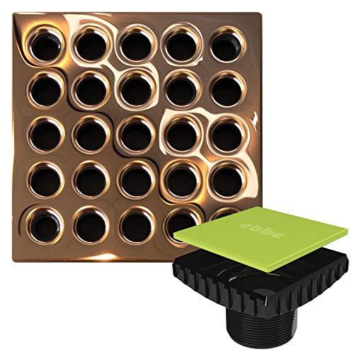 - Ebbe E4406 Square Shower Drain Grate, Polished Copper + Ebbe E4400 Drain Riser Black Bundle