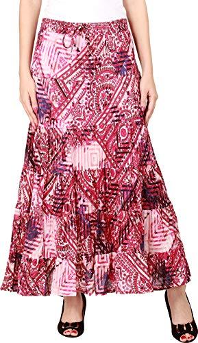 COTTON BREEZE Women's Cotton Patch Print Maxi Skirt XL Pink