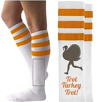 Turkey Trot Socks: Unisex Striped Knee-High Socks