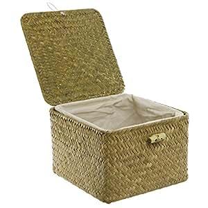 Small Green Woven Picnic Lunch Basket / Mug Gift Box Set w/ Ceramic Mug, Wood Spoon & Coaster - MyGift®