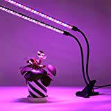 GR LED Grow Light 18W Dual Head with Timing Function Plant Lamp 360 Degree Rotation Double Tube Dimmable Indoor Hydroponic