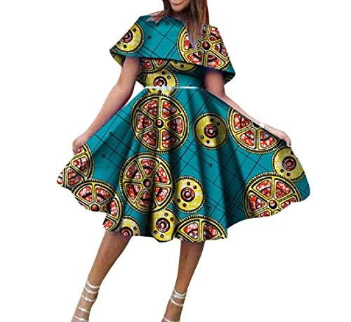 Mfasica Women Dashiki Batik Pleated Big Pendulum African Club Party Dress 5 M by Mfasica