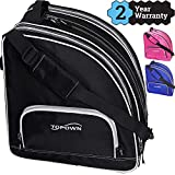 TOPOWN Inline & Ice Skate Bag for Boys and Girls Men Inline Skate Bag Women Roller Skate Bag Premium Black Ice Skate Bag Rose Red Black Inline Skate Bag
