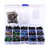 1 Box(264PCS) 6mm-12mm Black Plastic Safety Screw Eyes & 5 Colours 10/12mm Safety Eyes with Washers-Teddy Bear Toy Puppet Making Accessories and DIY Crafts