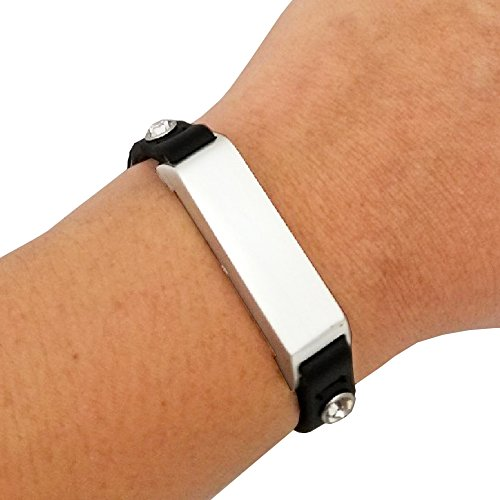 Fitbit Bracelet for Fitbit Flex 2 Fitness Trackers - The KATE Single-Strap Studded Leather Fitbit Bracelet - Alternative to Tory Burch Fitbit (Black & Silver Crystal, - Burch Tory To Similar