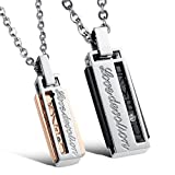 MO SI YI His & Hers Matching Set Titanium Stainless Steel Couples Pendant Necklace (Love Devotion)