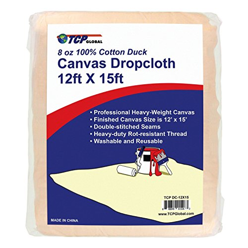 15' Drop Flat - TCP Global 12' x15' Extra Large Heavyweight Canvas Drop Cloth - 8 oz 100% Cotton Duck