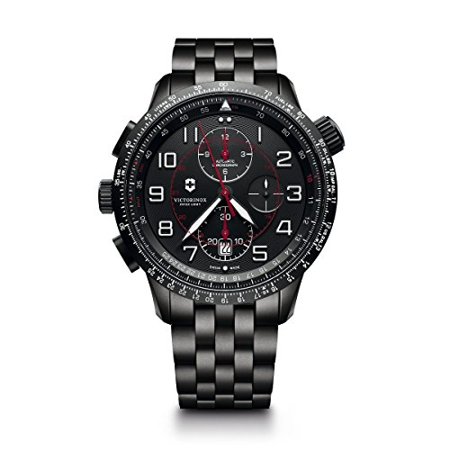 Victorinox Men's 'Airboss Edition' Automatic Stainless Steel Aviator Watch, Color:Black (Model: 241742)