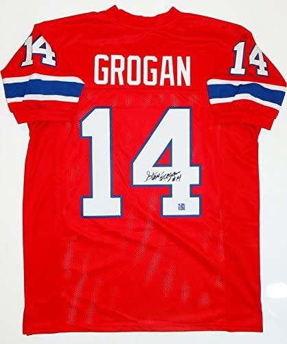 Steve Grogan Autographed Red Pro Style Jersey - The Jersey Source Auth 4