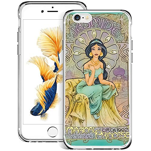 DISNEY COLLECTION Clear Crystal Phone Case Compatible with iPhone 6 iPhone 6S Flexible Finger Resistant Shock Absorption Skid Proof Jasmine Princess Protective Cover -