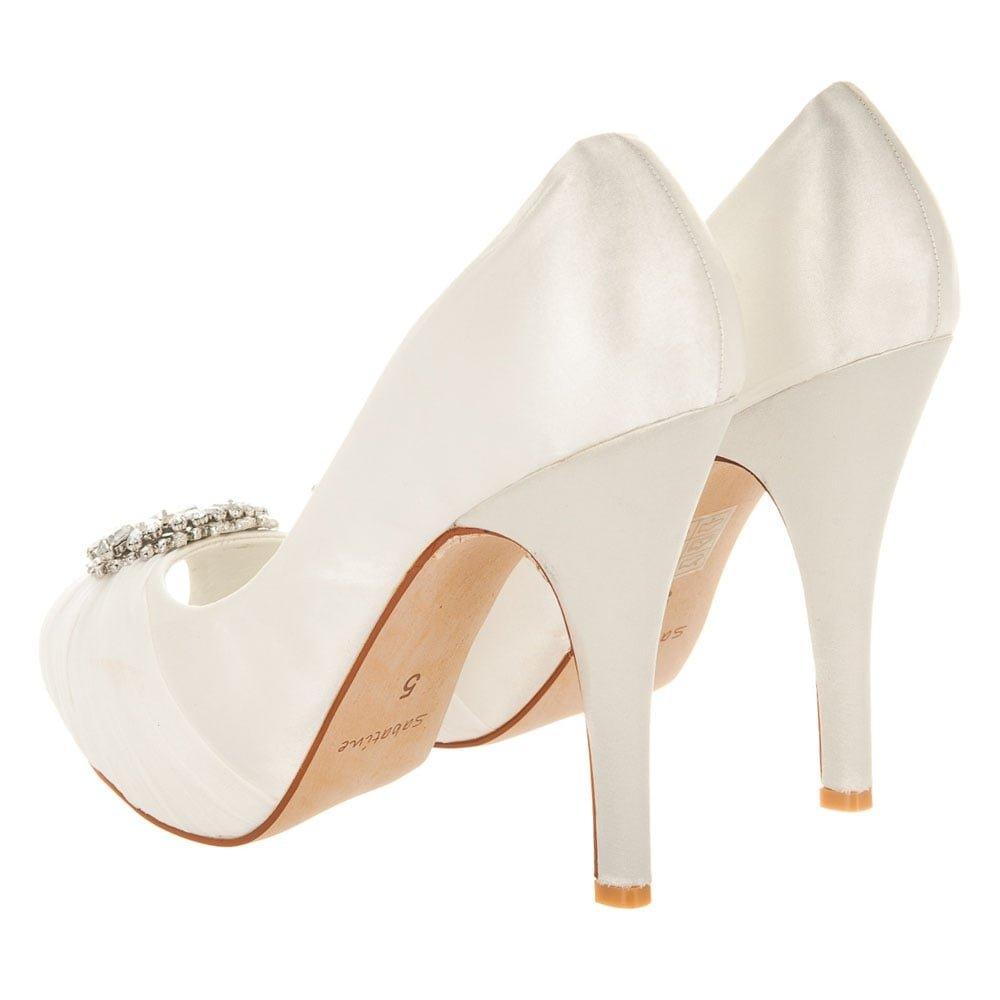 Miss Diva Damen Schuhes, Damen Diva Pumps elfenbeinfarbener Satin 3e616e