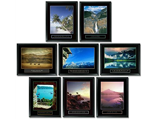8 Framed Motivational Posters Bundle Inspirational Office Art Nature 22X28 Communication Framed Motivational Print