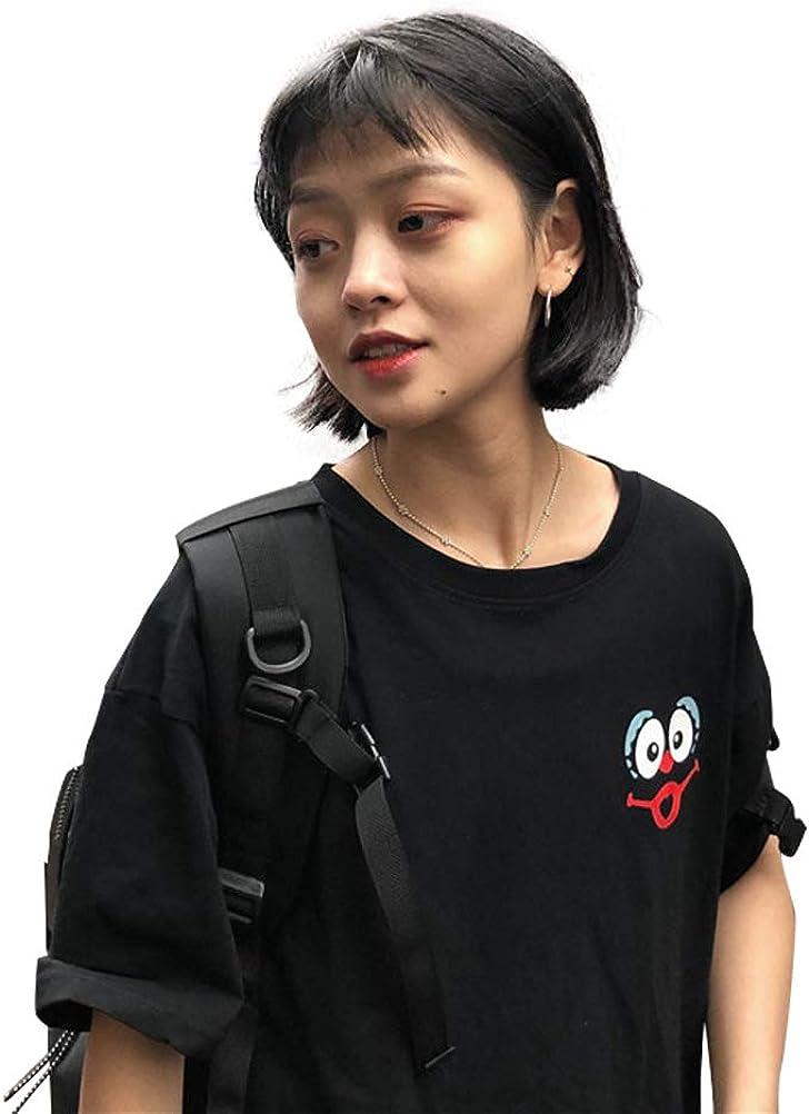 YAXAN Womens Casual Short Sleeve Funny Cute Graphic Print Crewneck Simple T-Shirt Tee Tops