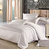 LILYSILK 100% Mulberry Silk Duvet Cover for Queen Bed 19 Momme Pure Silk White