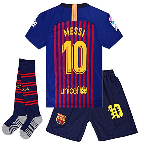 Cyllr Barcelona Home Kids/Youth 2018-2019 Season #10 Messi Socce Jersey Matching Shorts,Socks.Color Blue/Red Size 7-8Years(22) - Kids Soccer Jersey