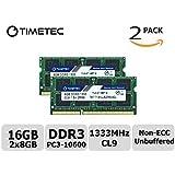 Timetec ハイニックス半導体 IC 16 GB Kit(2x8GB) DDR3 1333 MHz PC3 10600 非 ECC は 1.5 v を非バッファー CL9 2Rx8 デュアル ランク 204 ピン SODIMM ラップトップ ノート ブック コンピューター メモリ Ram モジュールのアップグレード (16 GB Kit(2x8GB))