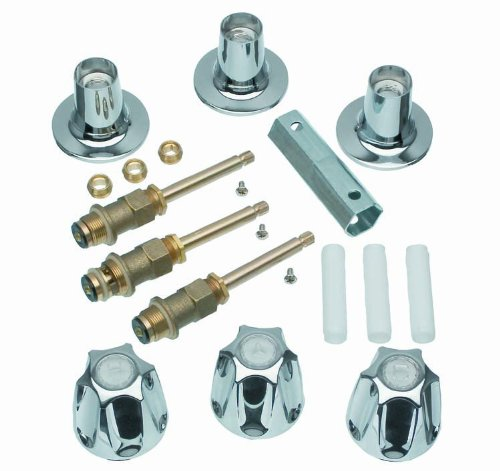 DANCO Bathtub and Shower 3-Handle Remodel/Rebuild Trim Kit for Price Pfister Verve Faucets | Knob Handle | 12H-2H, 12H-2C, 12H-18D | Chrome (39619) ()