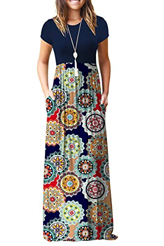 TODOLOR Women's Round Neck Short Sleeve Maxi Dresses Floral Printed Casual Long Dresses with Pockets (L, Navy Floral -