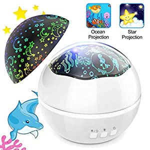 Night Light Projector,TONDOZEN Star Sky and Ocean Animals Projector Lamp,8 Colors Changing Brightness Adjustable 360° Rotating Night Light Projector for Kids Baby Bedroom Nursing Decoration