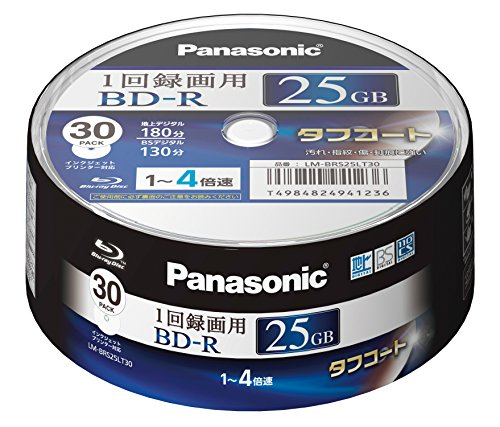 Panasonic Blu-ray BD-R Recordable Disk 25GB 4x Speed 30 Spindle Pack Printable Made in Japan by Panasonic