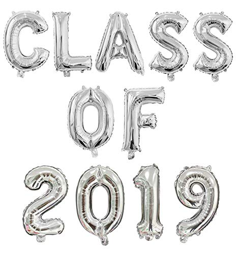 Class of 2019 Balloons Banner Graduation Party Balloons 2019 Grad Party Decorations High School College Graduation Party Supplies Prom Decorations Silver]()